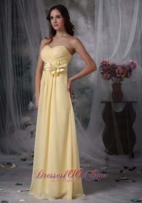 Handmade Flower Sash Bridesmaid Dress Light Yellow Empire