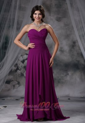 Dark Magenta Prom Evening Dress Brush Train Sweetheart