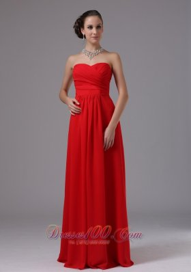 Tomato Red Sweetheart Prom Evening Gowns Ruch Chiffon
