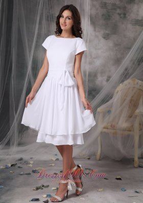 Bateau Short Sleeved Prom Dress Chiffon Knee-length