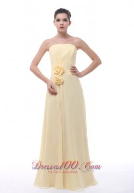 Handmade Flowers Prom Evening Dress Light Yellow 2013