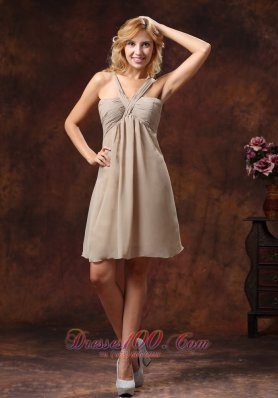 V-neck Tan Custom Color Bridesmaid Dress Mini-length