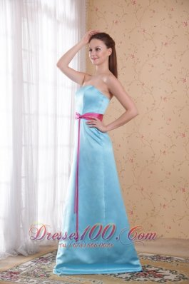 Light Blue Empire Dress for Maid of Honor Pink Sash