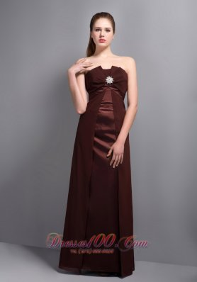 Apron Rust Red Strapless Bridesmaid Dress with Brooch