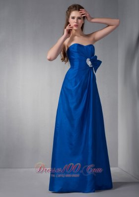 Royal Blue Sweetheart Bridesmaid Dress Appliques Gather