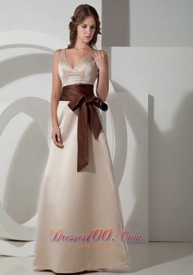 Champagne V-neck Bridesmaid Dress Chocolate Sash