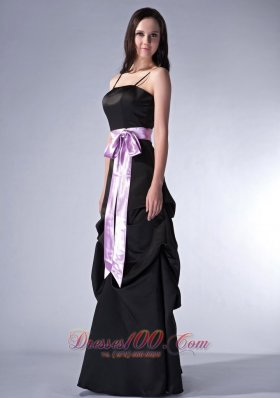 Customize Black Cloumn Bridesmaid Gowns Spaghetti Straps