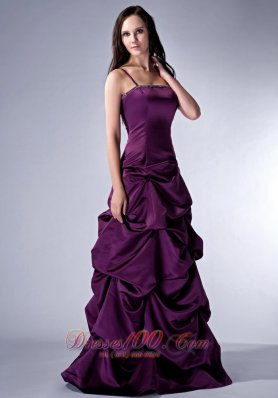 Straps Grape Purple Pick-ups Bridesmaid Gowns Trimmed
