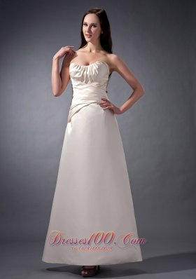 Bateau Neckline Off White Bridesmaid Dress Cross Wrapped