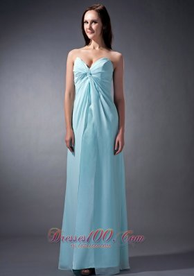 Twist Pleats Baby Blue Junior Bridesmaid Dress Sweetheart