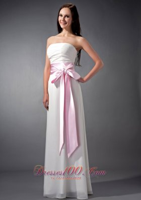 Chiffon White and Baby Pink Sash Bridesmaid Dress Empire