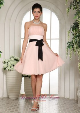 Strapless Baby Pink Bridesmaid Minidress Black Sash