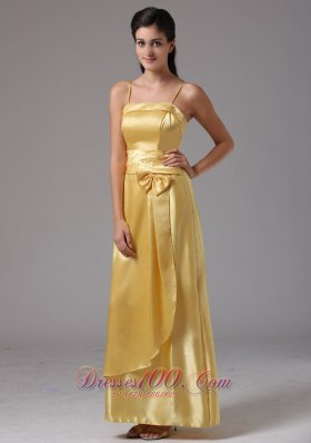 Bow Spagetti Straps Bridesmaid Dress Medium Yellow