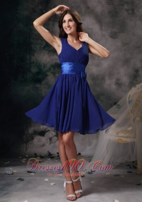 Empire Peacock Blue V-neck Cocktail Dress Sash Chiffon