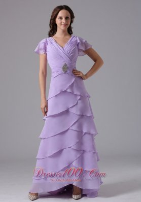 Cross Straps V-neck Lilac Prom Dress Layered Ruch