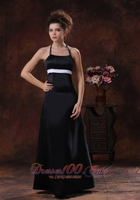 Halter Sheath Black 2013 Bridesmaid Dress Long