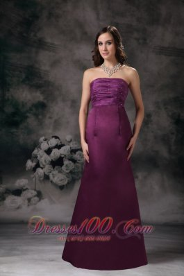 Empire Beaded Purple Bridesmaid Dress Sheath Strapless