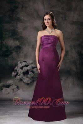 Empire Beaded Purple Bridesmaid Dress Sheath Strapless