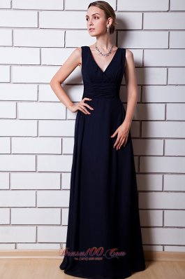 V-neck Black Chiffon Dress for Matrons of Honor