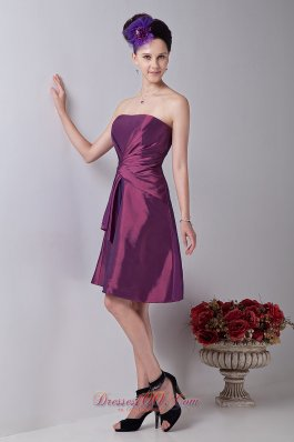 Twist Wrapped Violet Red Cocktail Dress Strapless