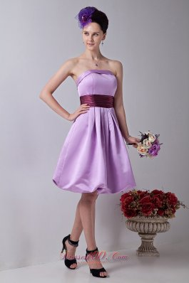 Sash Lilac Strapless Prom Homecoming Dress Knee-length