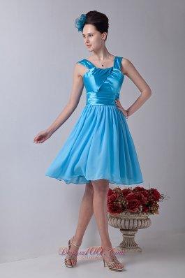 Straps Aqua Blue Prom Homecoming Dress Empire Ruffled