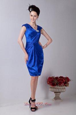 Twist Royal Blue Column V-neck Prom Cocktail Dress Brooch