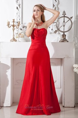 Sweetheart Red Ruch Prom Formal Dress for Custom Made