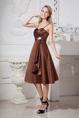 Tea-length Chocolate Brown Prom Dress Spaghetti Straps