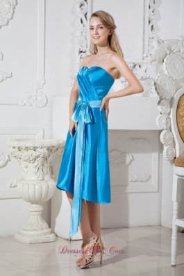 Bow Sash Dodger Blue Prom Dress Empire Sweetheart Ruch