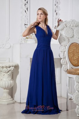 Dark Blue Empire Prom Evening Dress V-neck Brush