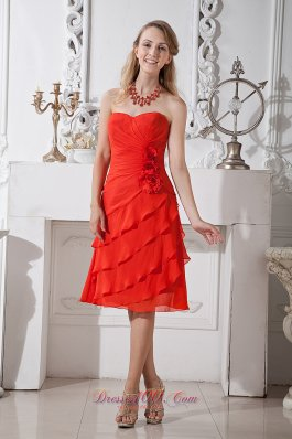 Layers Orange Red Prom Homecoming Dress Sweetheart Flowers