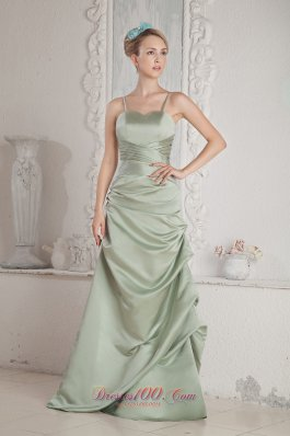 Apple Green Spaghetti Straps Prom Dress Empire Ruch Twist