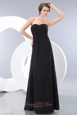 Black Long Bridesmaid Maxi Dress Sweetheart Ruch Empire