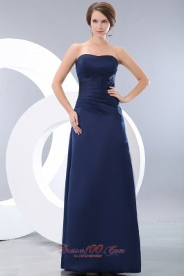 Navy Blue Strapless Ruch Bridesmaid Dress Column