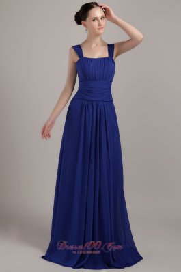 Royal Blue Empire Bridesmaid Dress Square Straps Chiffon