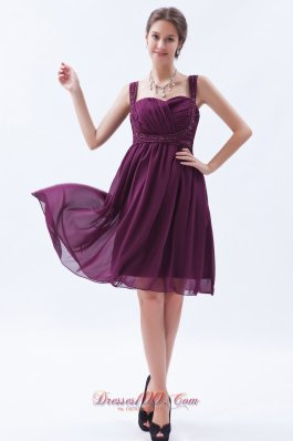 Grape Purple Empire Straps Prom Dress Knee-length Beaded