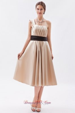 Champagne Princess Bridesmaid Dress One Shoulder Tea-length