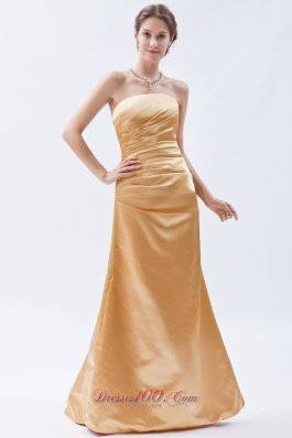 Gold Sheath Ruch Bridesmaid Gowns Strapless Wholesale