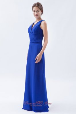 V-neck Royal Blue Sheath Chiffon Ruch Bridesmaids Dresses