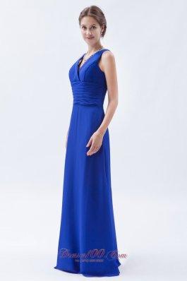 V-neck Royal Blue Sheath Chiffon Ruch Bridesmaids Dresses