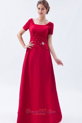 Scoop Chief Bridesmaid Dress Beading Wine Red Empire