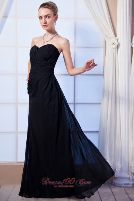 Black Empire Bridesmaid Dress Floor-length Ruch