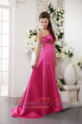 Brush Train Hot Pink Beading Junior Bridesmaid Dress