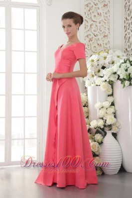 Coral Red Sheath Scoop Long Beading Dress for Mother