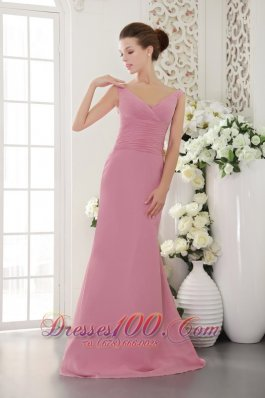V-neck Brush Train Baby Pink Sheath Ruch Bridesmaid Dress