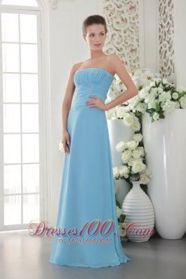 Chiffon Ruch Light Blue Empire Strapless Bridesmaid Dress