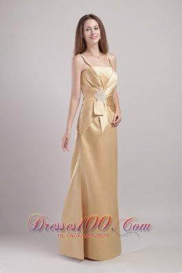 Spaghetti Straps Champagne Bridesmaid Dress Appliques