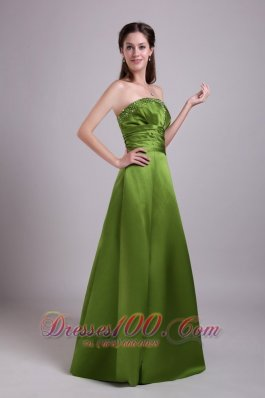 Beading Olive Green Princess Strapless Bridesmaid Dress