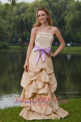 Column Brush Train Champagne Bridesmaid Dress Sash